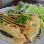 Grilled Portabella Mushroom Panini w/ Caesar salad