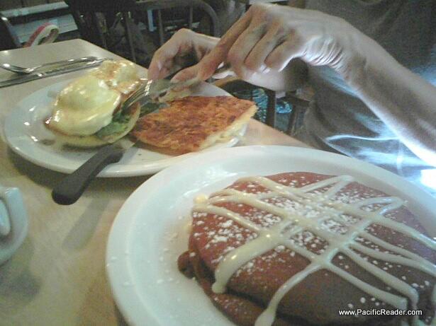 The Red Velvet Pancakes at Cinnamon's Restaurant